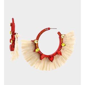 🆕 BETSEY JOHNSON raffia hoop earrings